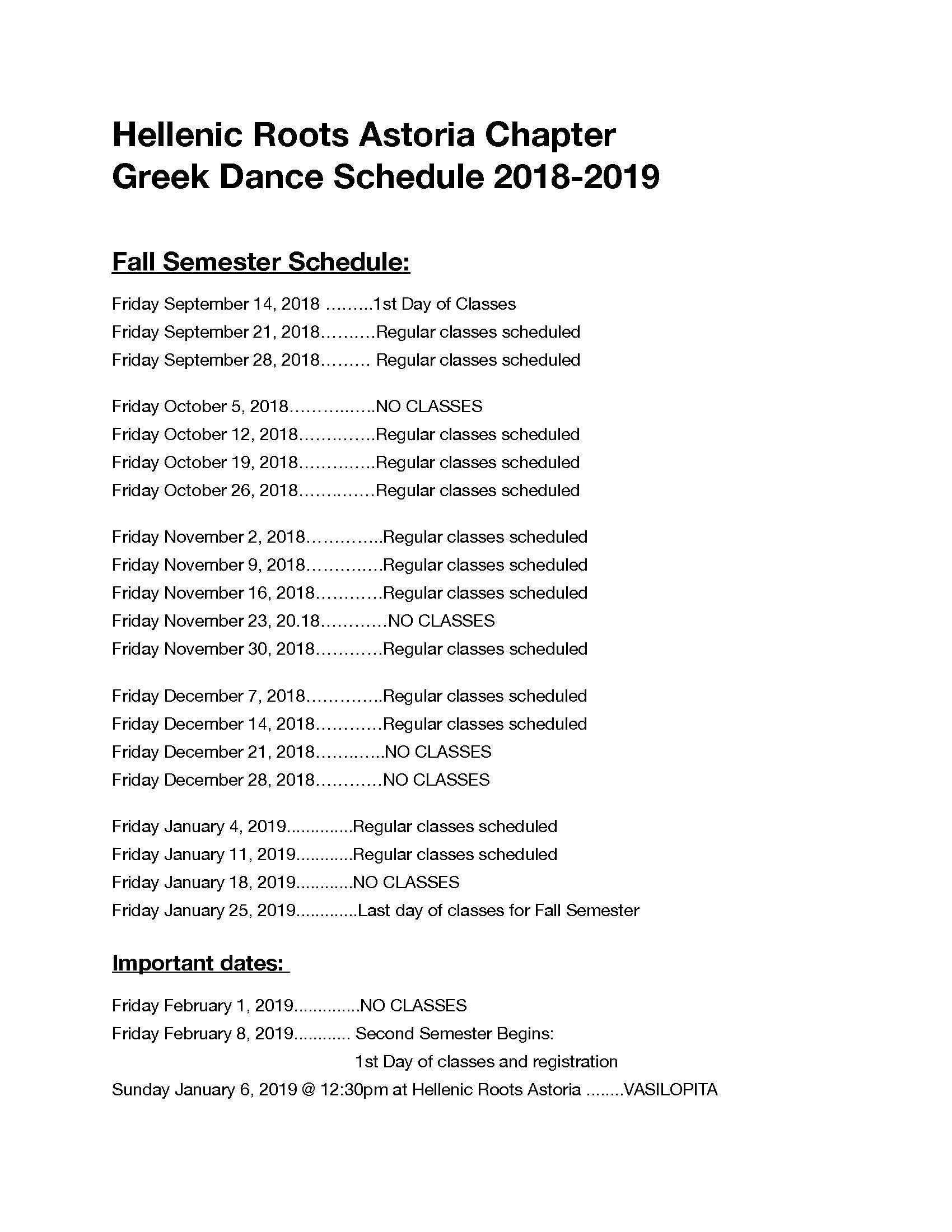 Hellenic Roots Astoria Class Schedule Fall 2018
