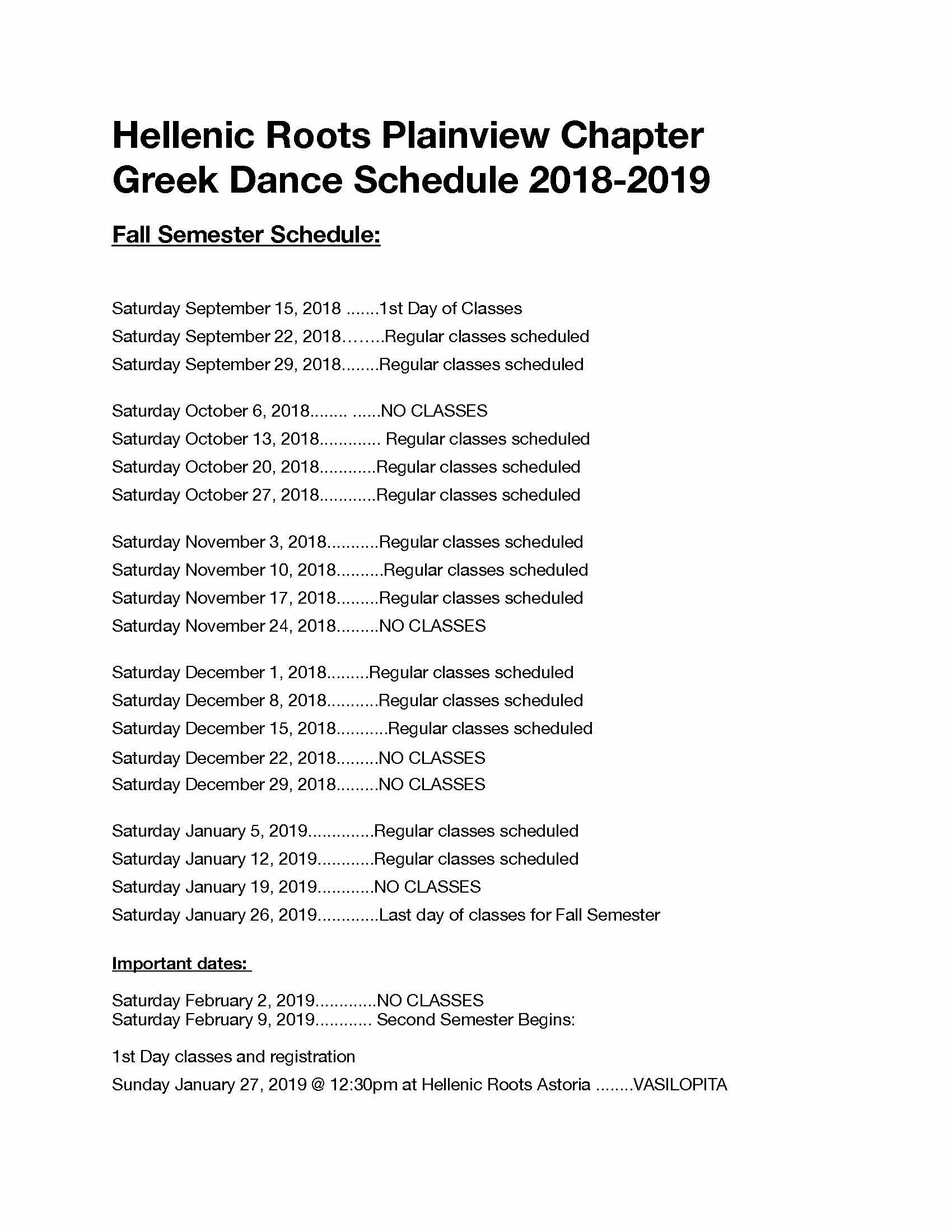 Hellenic Roots Plainview Class Schedule Fall 2018