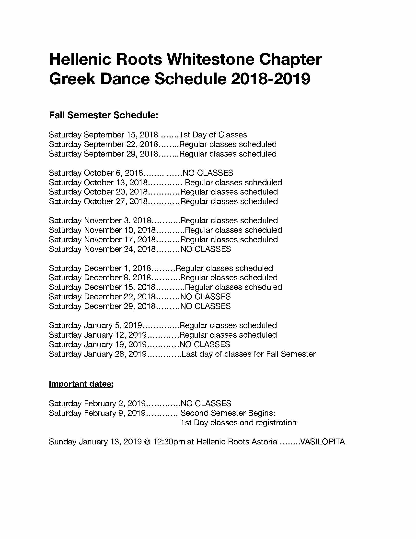 Hellenic Roots Whitestone Class Schedule Fall 2018