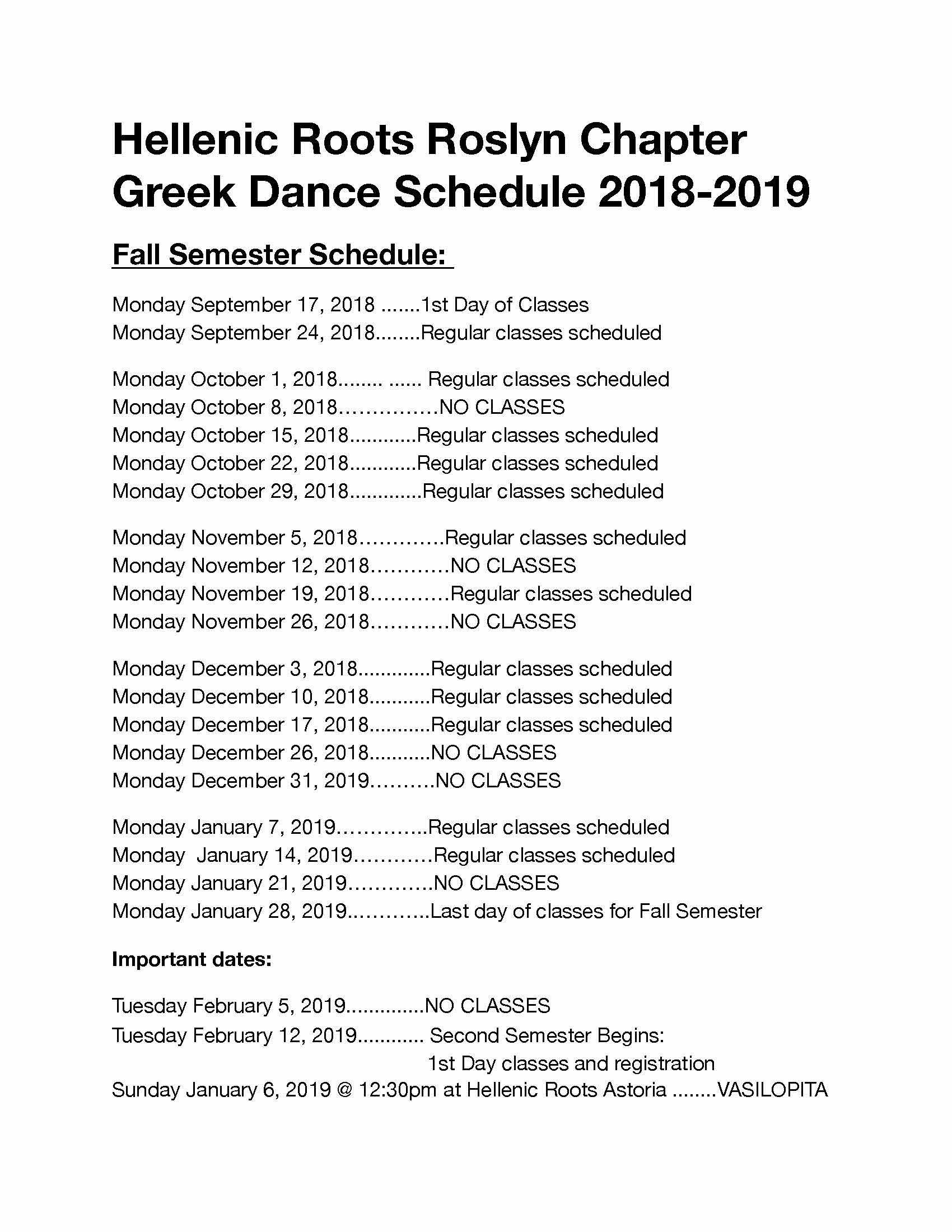 Hellenic Roots Roslyn Class Schedule Fall 2018