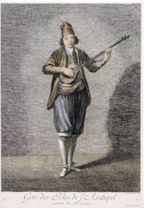 Επιχρωματισμένη χαλκογραφία του G. Scotin, με θέμα Έλληνα μουσικό